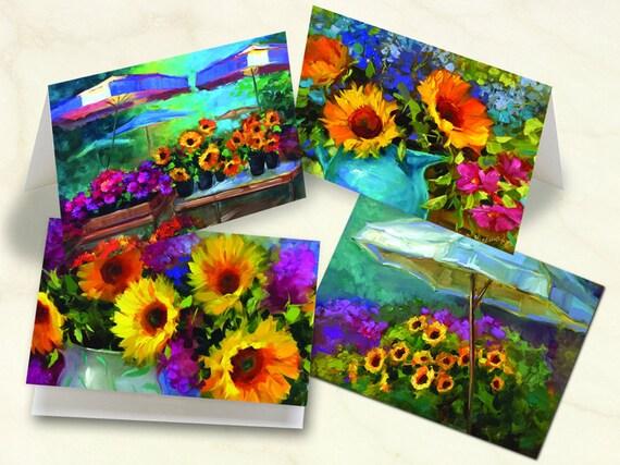 notecard set, thank you cards, Nancy Medina fine art notecards, floral notecards, sunflower notecards, sunflower thank you cards, NM_S1