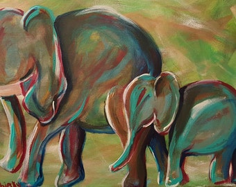Elephant Parade. Affordable and Original Fine Art by artist Katie Pobjecky, Lillybugart