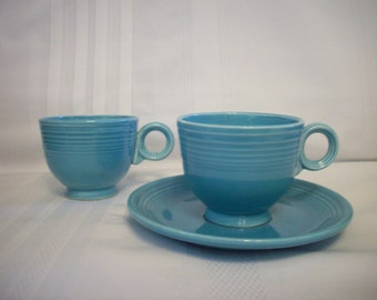 Vintage Turquoise fiesta Cups and Saucer