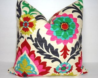 Waverly Santa Maria Desert Flower Pillow Cover Decorative Throw Pillow Cover Red Pink Black Floral Pillow Cover  18x18