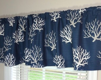 SALE Curtain Valance Topper Window Treatment 52x15 Navy Grey & White Coral Valance Home Decor
