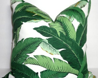 Outdoor/Indoor Palm Tree Pillow Cover Tommy Bahama Island Hopping Emerald Pillow Cover