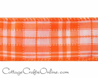 "Plaid Wired Ribbon, 1 1/2"" wide, Orange, White Check - THREE YARDS - Offray ""Verna 9""  Halloween, Fall, Spring,  Wire Edged Ribbon"
