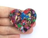 Fireworks Glitter Heart Brooch - Valentines Day - Each To Own Original