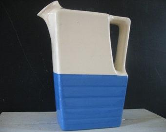 Vintage Universal Potteries Blue & White Pitcher