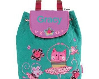 Personalized Girls Backpack or Baby Diaper Bag Stephen Joseph Signature Quilted Cat Ballet