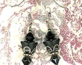 Bead Kit- Sugar Sweet Swarovski Black Brass Flower Earrings, DIY Earring Kit, Black Lucite Flower Earring Kit, Jewelry Maker's Gift, Black