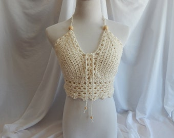Crochet Halter Top - Sexy Lace Up Boho Festival Top With Beads - Creamy Vanilla