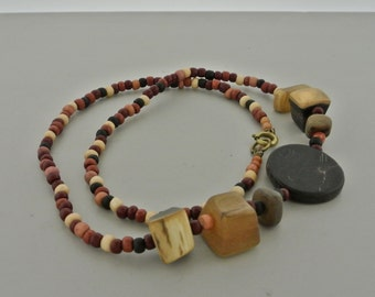 "Earth Tone Mixed Bead Necklace 18"" Long."