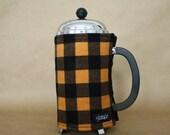 French Press Coffee Cozy Golden-Orange & Black Buffalo Plaid Flannel French Press Wrap in Buffalo Check Plaid