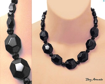 Basic Black 'Art Glass To Wear' Choker • Faceted & Chunky • Polished Art Glass • A Modern Classic • One Of A Kind • With Free Earrings!