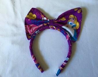 Headband made with Alice In Wonderland fabric