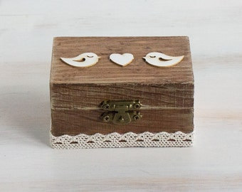 Rustic Wedding Ring Box Birds Ring Bearer Box Lace Rustic Ring Bearer Box We Do / I Do Personalized Ring Box Burlap and Lace ring box