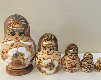 Unique Vintage Nesting Stacking Matryoshka Doll - Handpainted Wooden Russian Doll