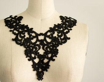 Black Venice Lace Applique Collar / Venetian Lace / Neckline / One Piece Applique Collar / Fashion Design