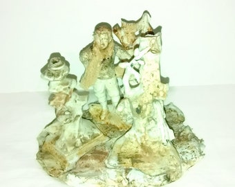 German Bisque Snow Scene Figurine Shabby Christmas Holiday
