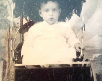 Original Tintype Victorian Child in Buggy Photograph
