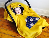 Car Seat Poncho Cape (Yellow Navy Flowers) Reversible Kids Hooded Fleece Poncho Cape with ears