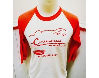 Vintage 1980s Continental Motel Atlantic City 3/4 Sleeve TShirt- M