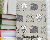 Notebook with Sheep Personalized linen covered notebook for recipes or other notes Christmas gift for sheep lover