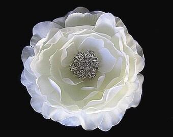 Adele - Bridal Light Ivory Silk Flower Hair Clip Fascinator with Rhinestone