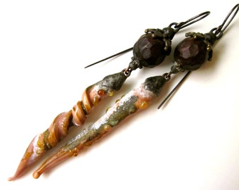 Quittin Altogether - primitive assemblage long peach pink crusty lampwork glass, wood bead, filigree bead cap, soldered black metal earrings
