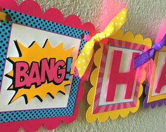 Girl Superhero Birthday Party Banner