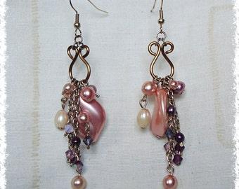 Cluster Earrings - Czech Glass & Swarovski