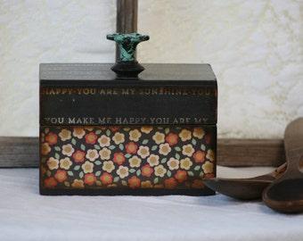 decoupaged vintage box, recipe box, file box, keepsake box, you are my sunshine