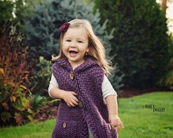 purple knitted long vest,hood vest,3T girl clothing