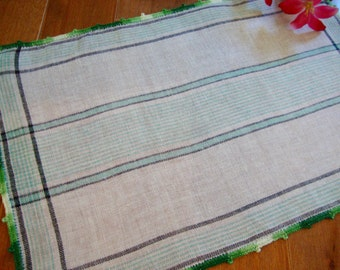Linen Tray Liner Vintage Green Striped Doily Crocheted Trim