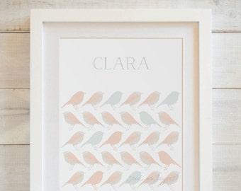 Bird Pattern Art Print, Personalized Art Print, Name Art Print, Nursery Name Art, Kids Name Art, Art for Nursery, Art for Girls Room