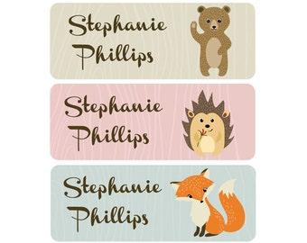 FAST SHIPPING! School Name Labels, Daycare Name Labels, Baby Bottle Labels, Girl, Waterproof, Woodland, Woodland Animals, Fox Bear Hedgehog