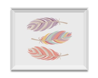 Feathers, Pink Purple Nursery Decor, Feathers Nursery Art, Pink Mint Children's Room Art, Feathers, Pink, Purple, Girl