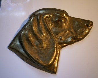 VINTAGE BRASS DOG Plaque, Dog Show Souvenir, Dog Show Trophy