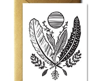 Feather & Leaf Bouquet Card