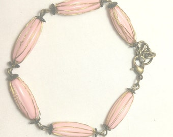 Bracelet, Pink and Antique Gold Bracelet, Pink Jewelry, Fancy Jewelry, Pink Bracelet, Pale Pink Jewlery, Antique Jewelry by Cindydidit