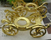 1pcs  Golden  Pated  Vintage Brass Turn Carriage Restoring Ancient Ways /Charms,68X35X31mm