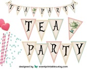 Alice in Wonderland Printable Banner, Neutral Baby Bridal Shower Birthday Tea Party Sign, DIGITAL FILE DOWNLOAD by Event Printables