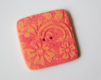 Square Polymer Clay Button, 1 1/4 inch button, 32 mm button, decorative sewing button