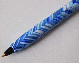 Bic Pen, polymer clay covered ink pen, blue chevron pattern