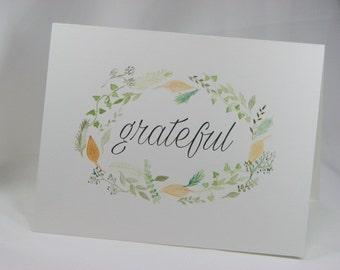 OOAK Handpainted Wreath of Gratefulness Greeting Card