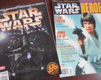 set of 2 Vintage Star Wars 20th Anniversary Commemorative Magazine and Poster Magazine