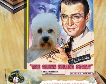 Dandie Dinmont Terrier Vintage Movie Style Poster Canvas Print  NEW COLLECTION by Nobility Dogs