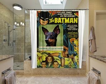 English Toy Terrier Art Shower Curtain, Dog Shower Curtains, Bathroom Decor - BATMAN Movie Poster
