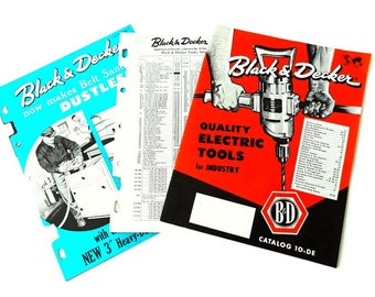 Black & Decker Tool Catalog 10 DE Vintage Power Tools Booklet 1958 1950's Industrial Tools Parts List Supplements Reference Guide