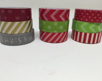 Christmas washy tape, red green and gold washi tape, gift wrap washi tape, red Chevron washi tape, polkadot washi tape