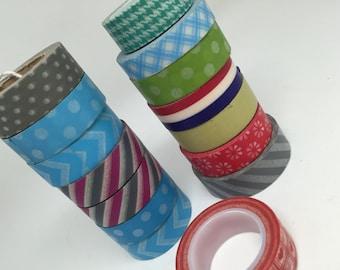 Large lot of washi tape on SALE, washi tape discount, polka dot washi tape, stripe tape