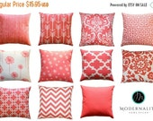 SALE Coral Pillow Cover, 16x16 Zippered Pillow, Decorative Throw Pillow, Coral Cushion Cover, Modernality Home Decor, Toss Pillow, Sofa Pill