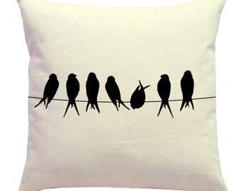 Throw Pillow- Birds on a Wire Silhouette Pillow Cover- 14x14 Zippered Cushion Cover- Nature Home Decor- Choose Color- Modern Home Decor